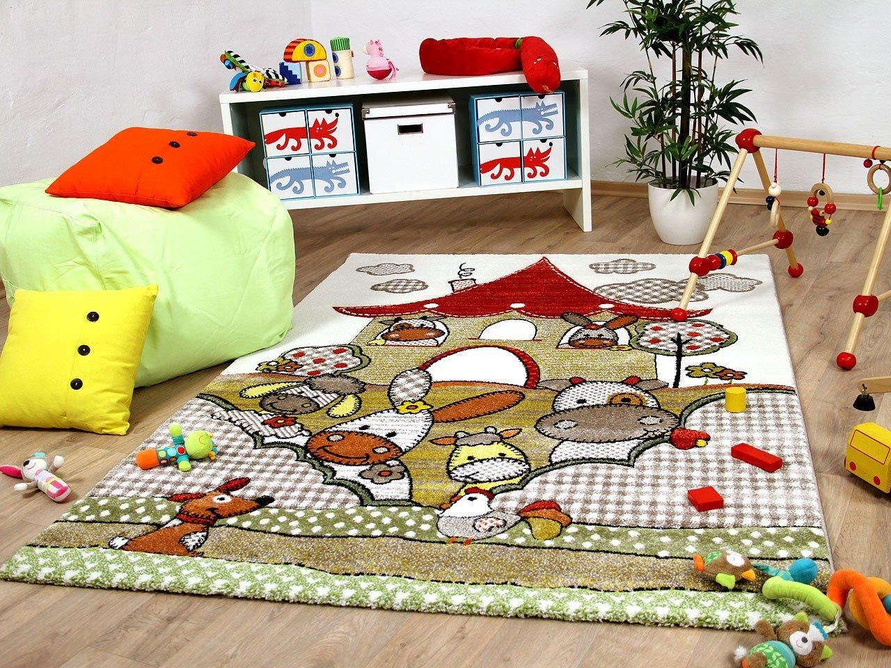 Maui Kinder und Spiel Teppich Kids Funny Friends Beige in 3 Größen