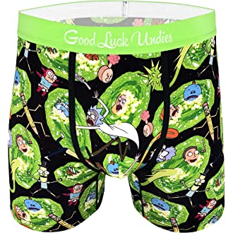 Good Luck Undies Mens Rick and Morty Open Your Eyes Morty Boxer Brief Underwear