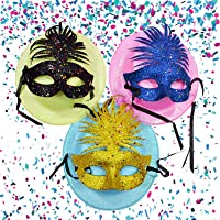 Asian Hobby Crafts Fluorescent Bowler Hats and Glitter Eye Masks(Pack of 6)