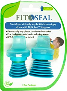Fit n Seal Sippy Cup Bottle Top - Spill Proof Sippy Top for Toddlers Drinking Water, Juice or Milk Plastic Bottles - Reusable, No BPA, Non-Leak Universal Lid for Travel - Gift for Busy Parents