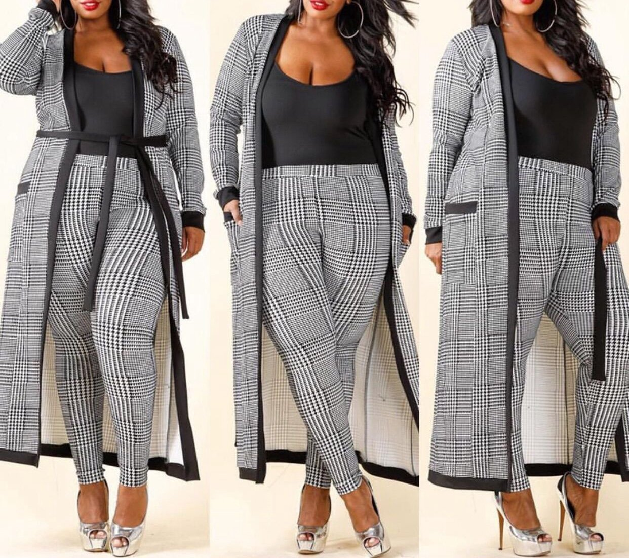VERWIN Long Sleeve Plaid Tops and High Waist Skinny Pants Houndstooth Blazer Outfit 3 Sets XL by VERWIN (Image #4)
