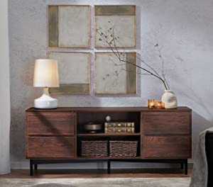 WAMPAT Modern Mid-Century TV Stands with Cabinet for TV up to 65 inches, Wood Storage Entertainment Center for Living Room, Retro Media TV Console Table, Rustic Walnut