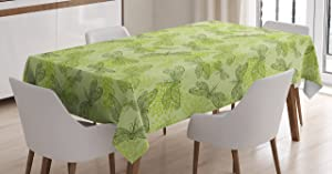 Ambesonne Dragonfly Tablecloth, Sketchy Butterfly Like Bugs with Floral Ivy Print Wings Artwork, Dining Room Kitchen Rectangular Table Cover, 60
