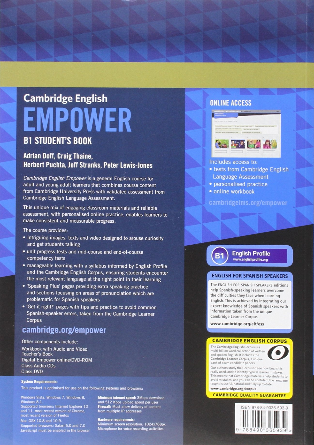Cambridge English Empower for Spanish Speakers B1 Students Book with Online Assessment and Practice and Online Workbook: Amazon.es: Doff, Adrian, Thaine, Craig, Puchta, Herbert, Stranks, Jeff, Lewis-Jones, Peter: Libros en idiomas extranjeros