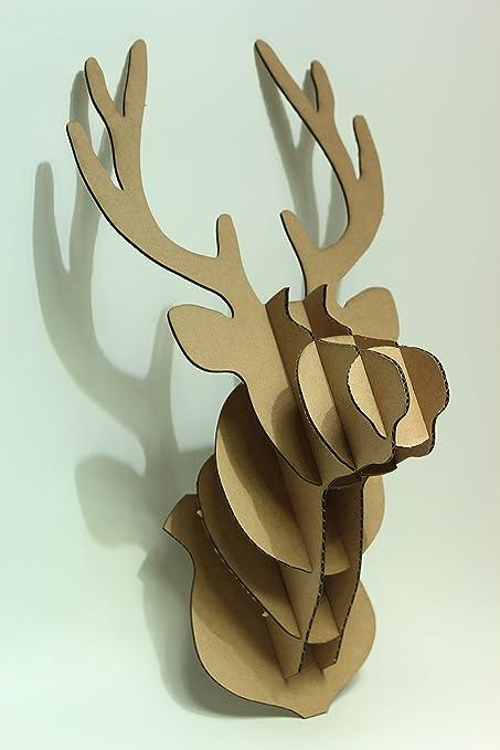 Sunshinewhite DIY 3D Cardboard Deer Head Sculpture For Wall Decor Small Deer01