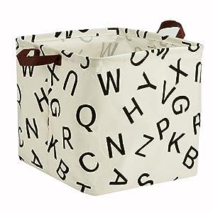 Storage Basket, Large Size Basket Storage - Waterproof and Folding Canvas Fabric Kids Laundry Basket (English Word)