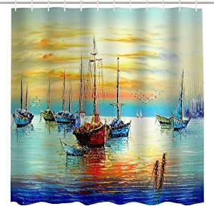 BROSHAN Colorful Nautical Shower Curtain Fabric, Antique Pirate Ships Sailboat on Ocean Sunset Painting Bathroom Art Curtain, Marine Fabric Bathroom Decor Set with Hooks