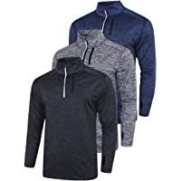 Liberty Imports Pack of 3 Men's Performance Quarter Zip Pullovers with Pockets, Quick Dry Active Long Sleeve Shirts