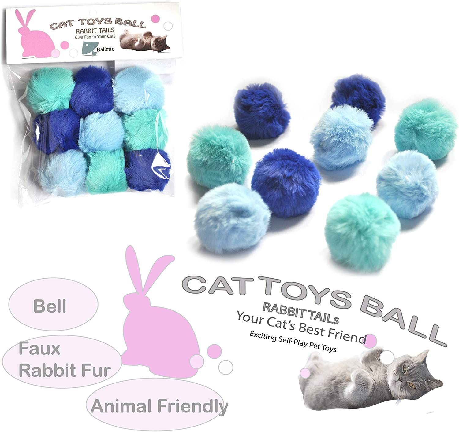 BALLMIE Cat Toys Ball Furry Ball with Rattle Bell Catnip for Cats Easter Gift