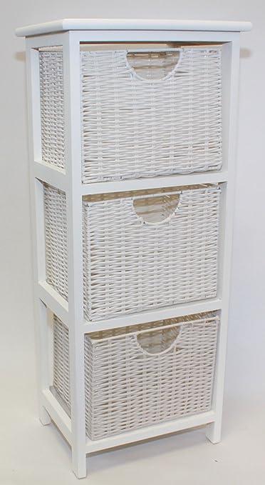 Cassettiera In Vimini Per Bagno.Home Ever Legno Bianco Cassettiera Da Bagno 3 Amazon It Casa E