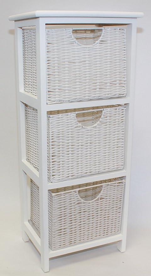 Home-ever Legno Bianco cassettiera da Bagno, 3: Amazon.it: Casa e cucina