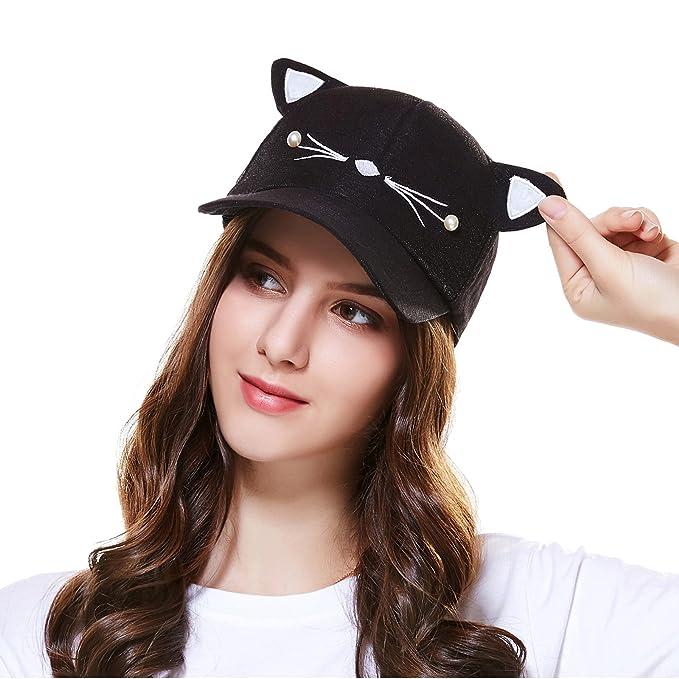 Ladies Cute Cat Ears Adjustable Baseball Cap Trucker Hats for Women Black 022d5b159fa