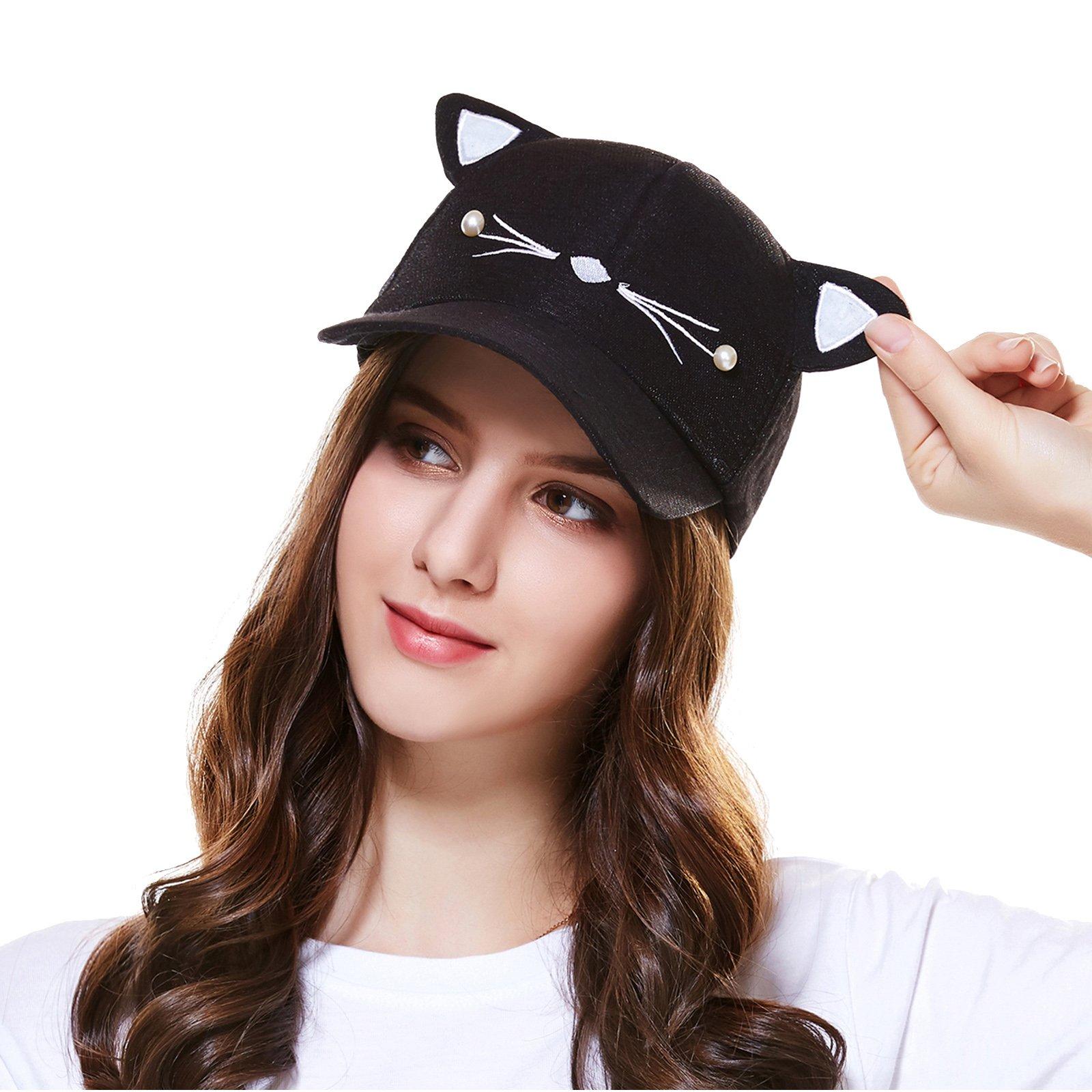 Women Cute Cat Embroidered Adjustable Baseball Cap Hat