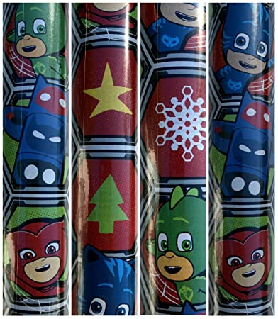 PJ Mask Christmas Gift Wrapping Paper with Catboy,Owlet and Gekko 45 sq ft 1