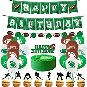 Football Party Supplies - Sports Decorations with Banner, Balloons, Cake Toppers