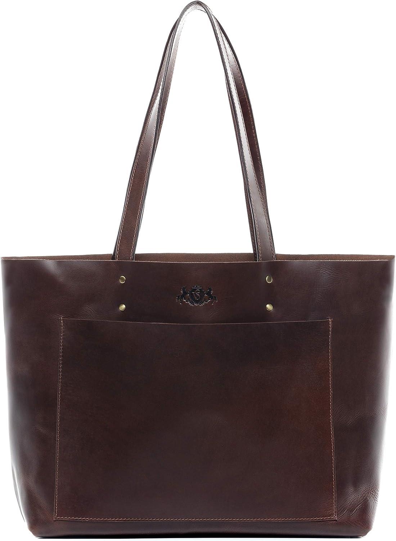 SID & VAIN® Bolso de Mano Piper Cartera con Asas Cortas Bolso Tote Bag Piel marrón
