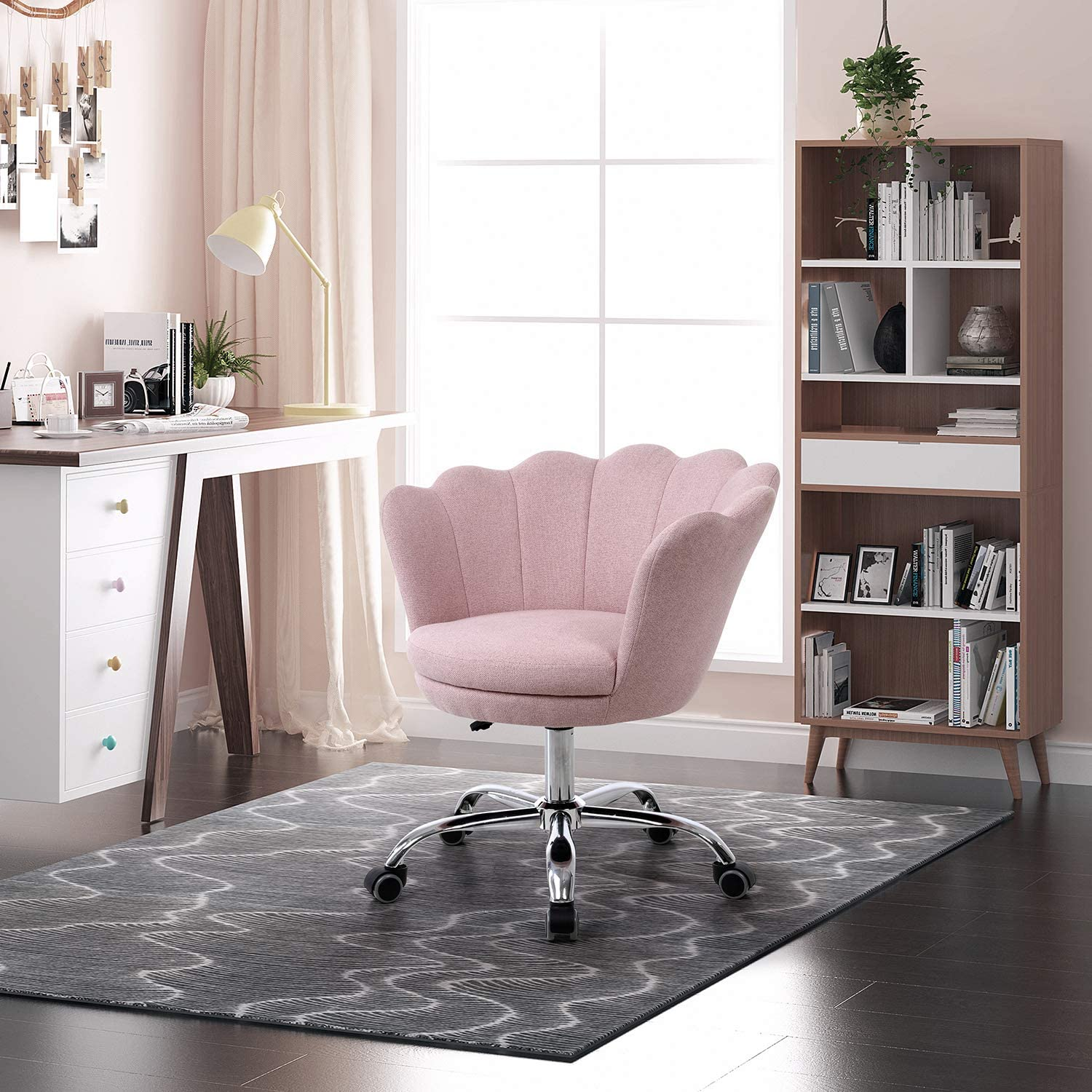 Henf Linen Fabric Accent Chair, Living Room Swivel Shell Chairs Home Office Desk Chair Modern Upholstered Vanity Chair with Wheels for Bedroom Makeup (Pink)