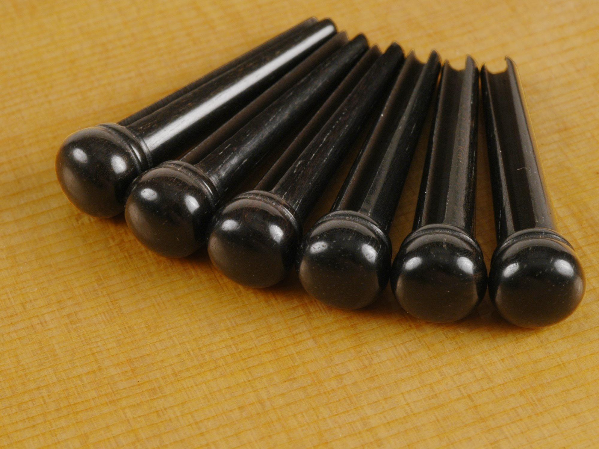 Waverly Ebony Guitar Bridge Pins, Slotted, Set of 6