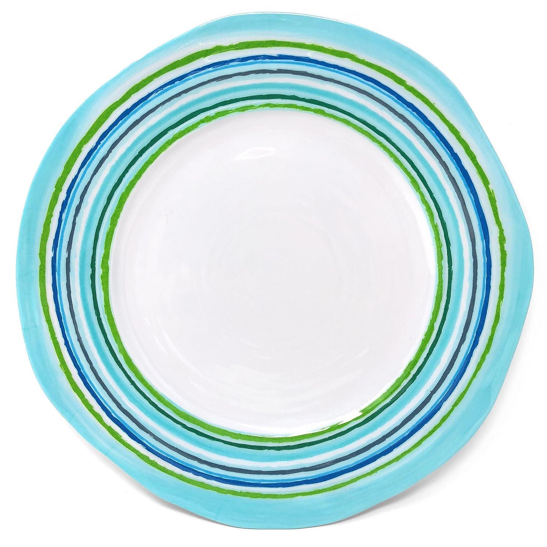 Set of 6 21021-S6 Marine Blue//Lime Merritt Mystique 9-inch Melamine Salad Plate with Striped Rim