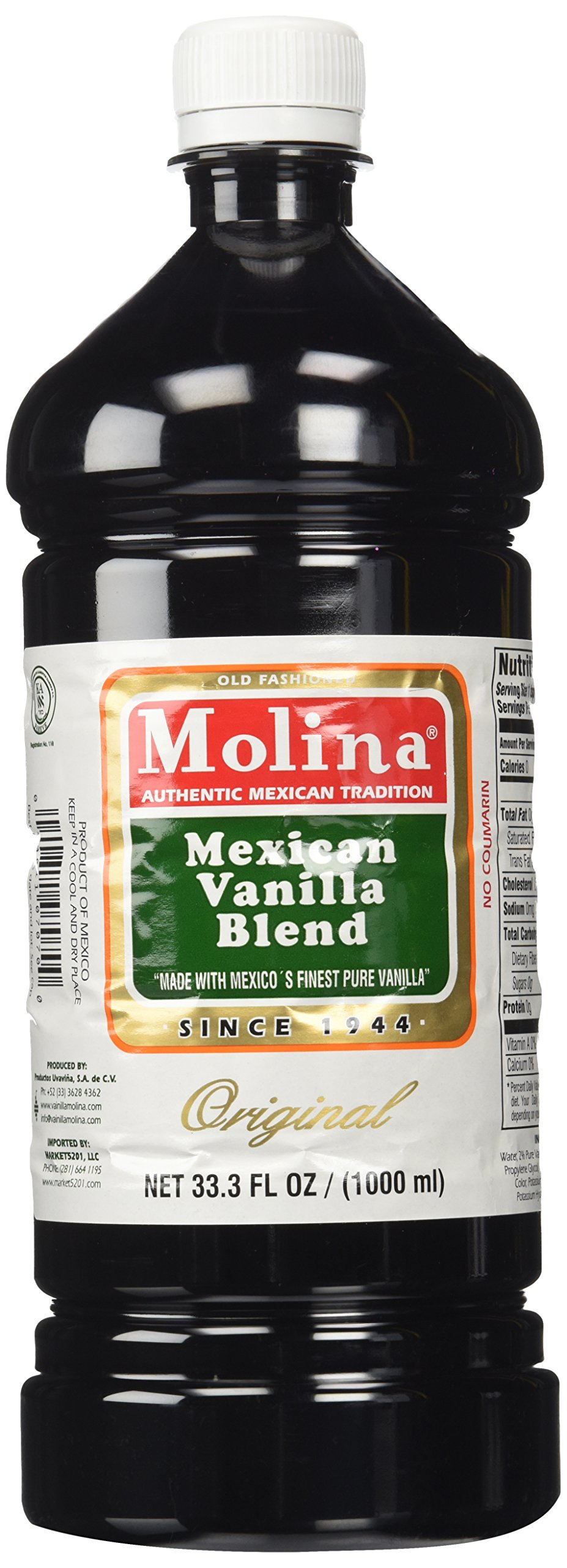 Mexican Vanilla Blend By Molina Vainilla, 33.3 Oz / 1000 Ml (Vanillin Extract) by Molina Vanilla