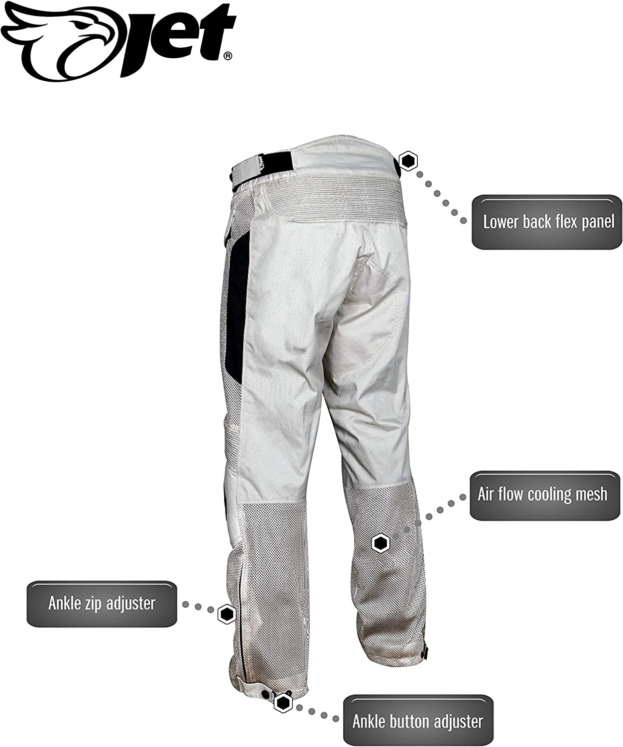 W 38 L 30, Silver JET Mens Motorcycle Motorbike Mesh Textile Summer Trousers Breathable Protective Armoured VENT-X