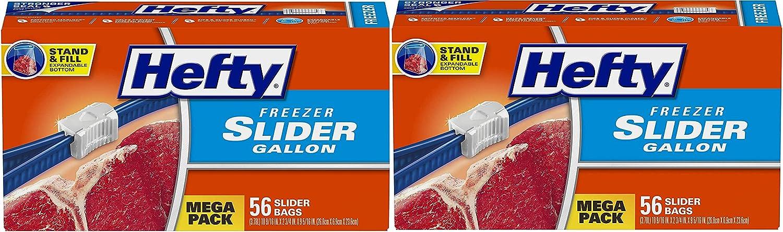 Hefty Slider Freezer Storage Bags, Gallon Size, 56 Count(2-Pack)