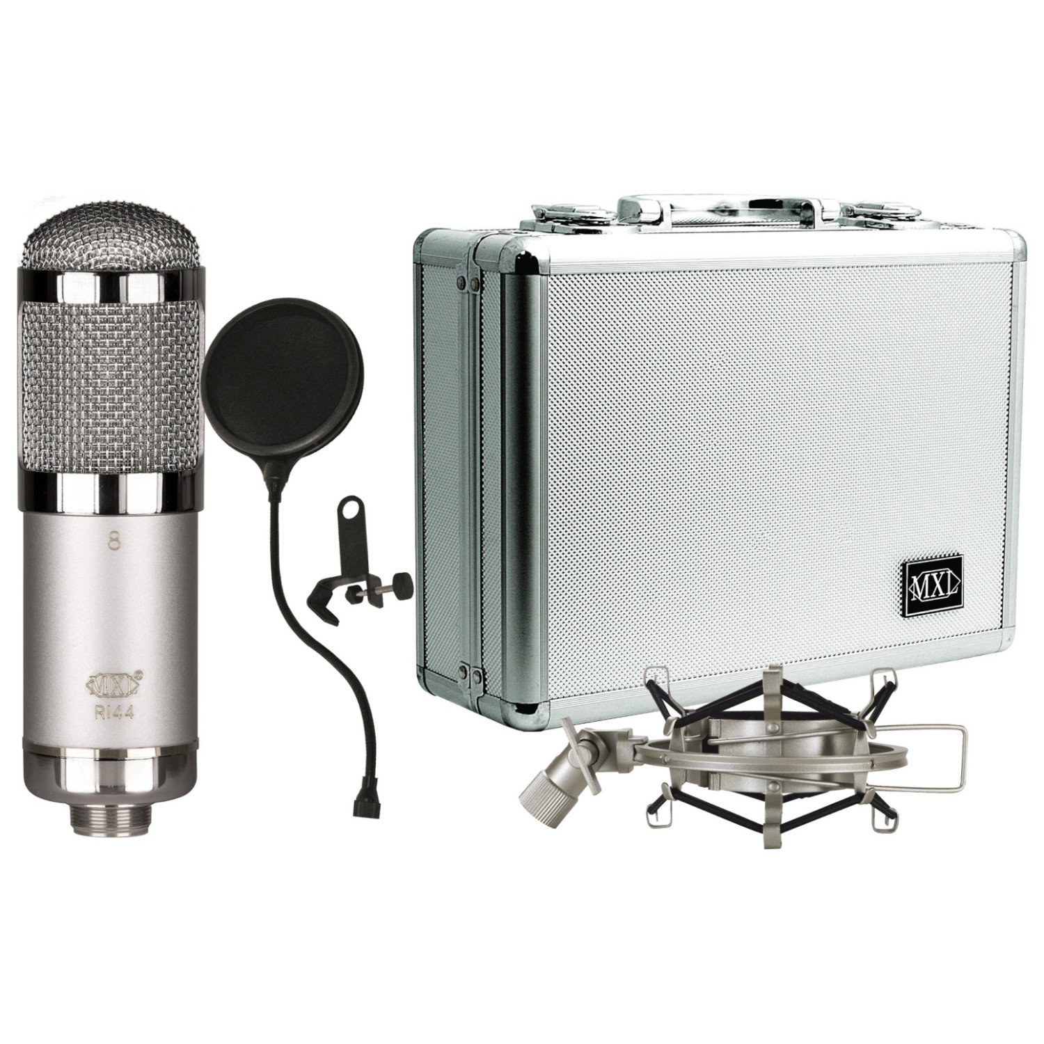 MXL R144 HE Ribbon Microphone Heritage Edition with Case, Shock Mount, and Pop Filter by MXL