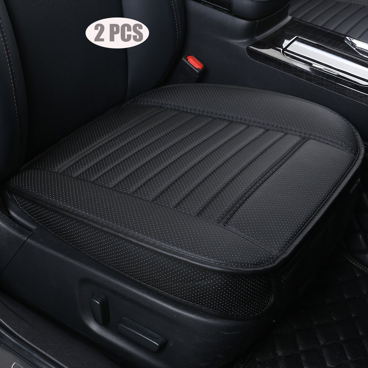 EDEALYN (2PCS PU Leather Seat Covers Auto Seat Protector Car Seat Covers for Front Seat with Side Flaps,(Deep20 inch × Width20 inch × Thick 0.4 inch) (Black-2 PCS)