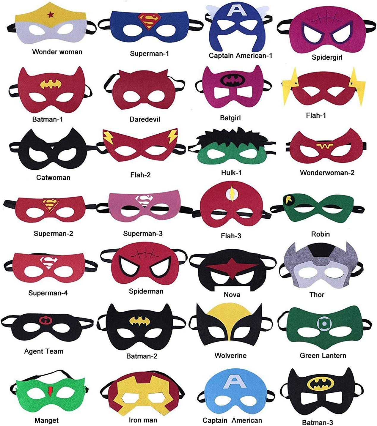 The Avengers Super Heroes Birthday Party Supplies Favors Children//Kids//Adults HXDZFX 24PCS Superhero Party Masks /& Superhero Slap Bracelet for Kids Baby