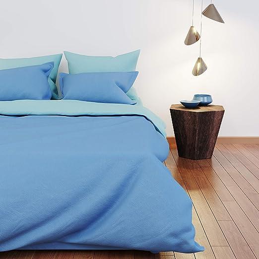 Dreamzie - Colcha Cama - 100% Algodón & Oeko Tex - Color Reversible (Azul + Turquesa) - Funda Nordica 200x200 cm y 2 Fundas de Almohada 50x75 cm: Amazon.es: Hogar
