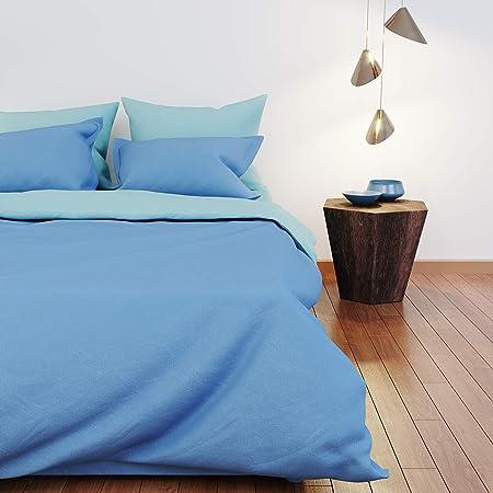 Dreamzie - Colcha Cama para Colchón 180-100% Algodón & Oeko Tex - Color Reversible (Azul + Turquesa) - Funda Nordica 240x260 cm y 2 Fundas de Almohada 63x63 cm: Amazon.es: Hogar