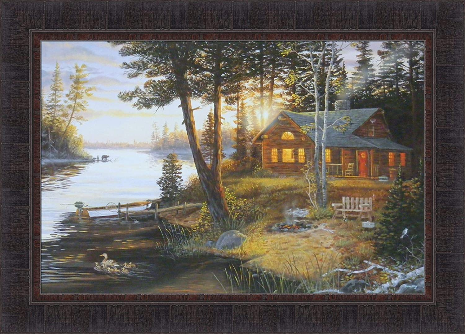 Deer in Natural Cabin on the Lake 5 Pieces Canvas Art Print Picture Wall Decor