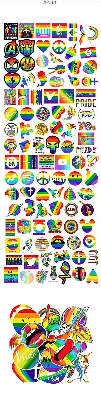 100 Pcs Rainbow Style LAIK Colorful Waterproof Vinyl Stickers Pack for Laptop Water Bottle Party Favors Rainbow