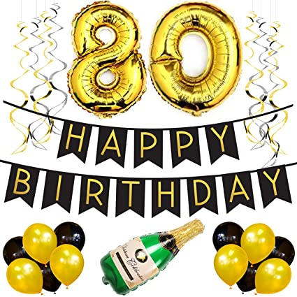 80th Birthday Party Pack Black Gold Happy Bunting