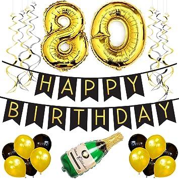 Amazoncom 80th Birthday Party Pack Black Gold Happy Birthday