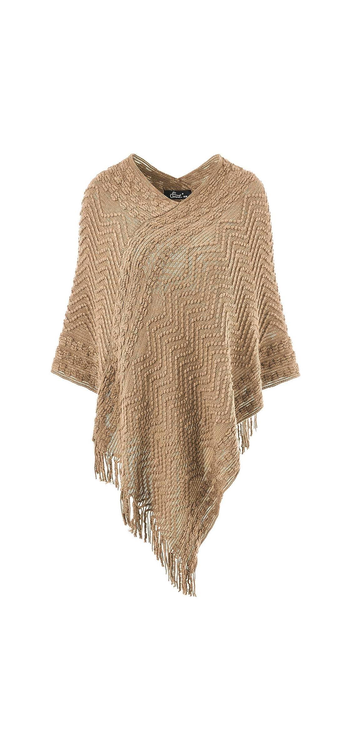 Women's Elegant Cozy Poncho Sweater With Chevron Stripes