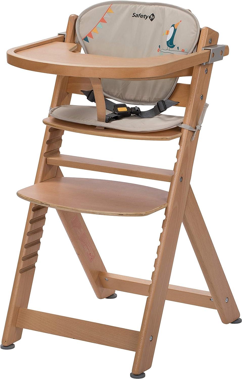Safety 7st Chaise Haute pour bébé en Bois et Evolutive Timba avec coussin  Happy Day