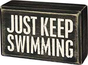 "Just Keep Swimming 4"" x 2.5"" Box Sign Primitives by Kathy"