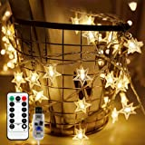 Briignite Star String Lights 100 Led 34ft Remote Control, Led Twinkle Lights Indoor Fairy Lights 8 Modes Warm White, USB…