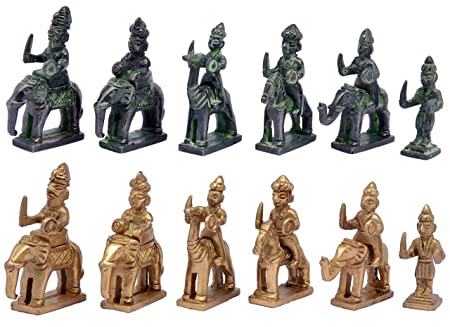 Metal Brass RAJSTHANI (AMBAWADI) Chess Figures, Antique Showpiece Decorative Gift Item (Yellow Antique & Black Green Antique)