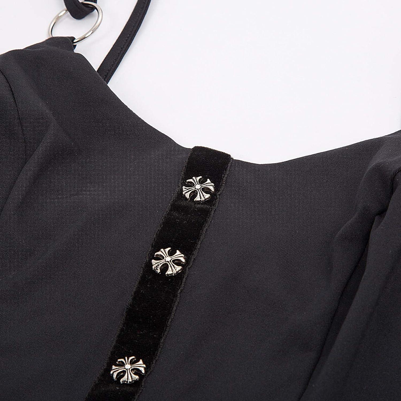 SCARLET DARKNESS Top da Donna Vintage Gotico Slim Attillata Spallini Regolabili Bottoni Decorati Estate