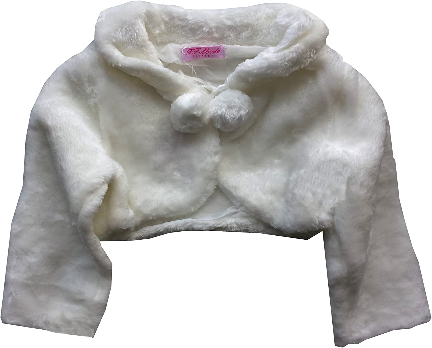 Girls Fur Bolero 3//4 Sleeves Shrug for Special Occasion Pom Pom with Ribbon Fastening Age 0 1 2 3 4 5 6 7 8 9 10 11 12 Years