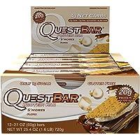 Quest Nutrition Proteina Bar, S,mores, 20g Proteina, No added Sugar, 2.12oz Bar, 12 Unidades