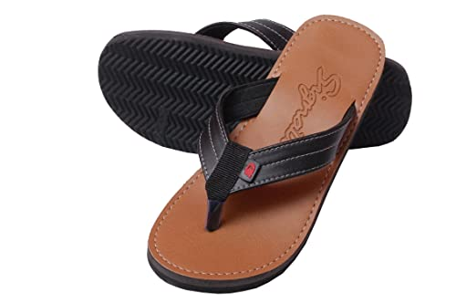 CHARAN COLLECTIONS Men's Brown Outdoor Leather Look Slippers, House Slippers, House Flip Flops, Casaul Slippers or Casual Flip Flops for Men
