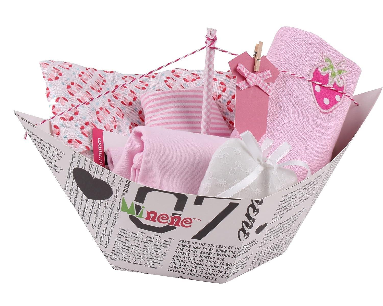 Minene Barquito - Caja de regalo, incluye body con aplique, muselina XXL, bandana, gasa con aplique y corazoncito de tela, color azul: Amazon.es: Bebé