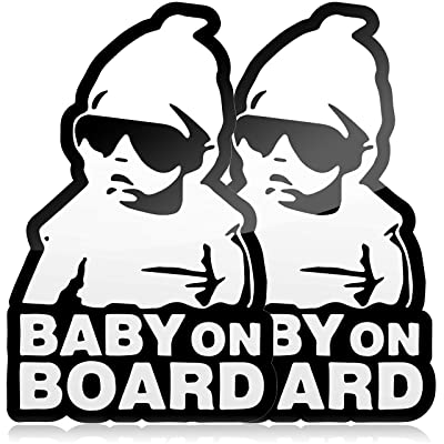 Premium Baby on Board Stickers Funny Carlos from The Hangover, Black and White Vinyl Decals (2 Pack): Baby