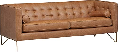 Amazon Brand Rivet Brooke Contemporary Mid-Century Modern Tufted Leather Sofa Couch, 82 W, Cognac