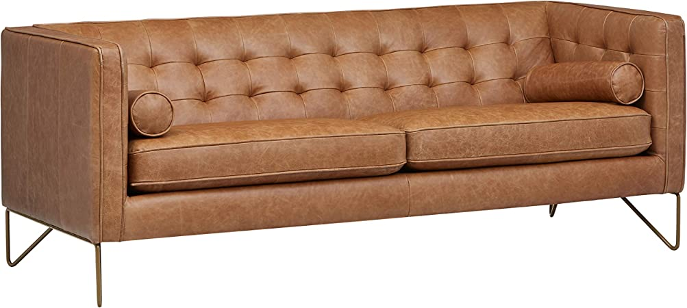 Rivet Brooke Contemporary Mid-Century Modern Tufted Leather Sofa Couch,  82\
