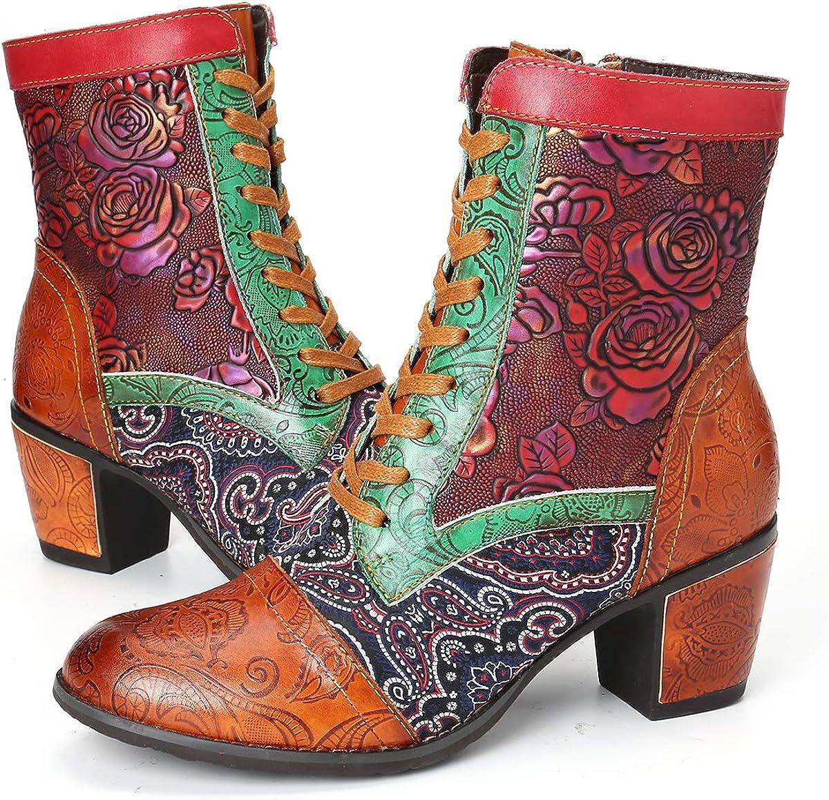 Autumn Ladies Women Round Toe Ankle Boots Vintage Zipper Low Heels Shoes Size