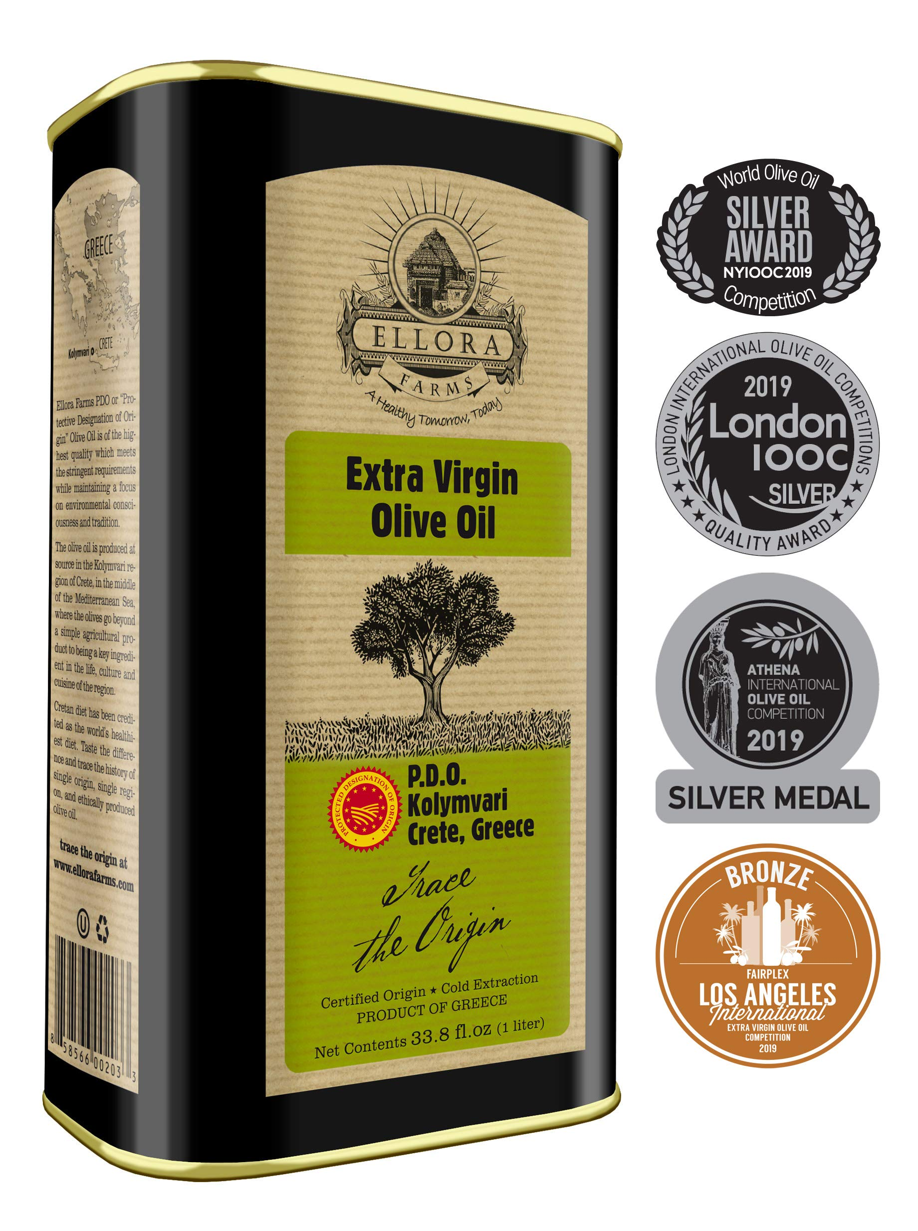 Ellora Farms | Certified PDO Extra Virgin Olive Oil | Single Variety Koroneiki Olives | Cold Press & Traceable Olive Oil | Born in Ancient Crete, Greece | Kosher | 1 Lt Tin, total 33.8 oz. by Ellora Farms